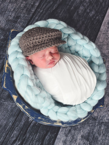 Taupe | Irish wool Donegal newsboy hat, flat cap, golf hat | newborn, baby, toddler, boy, & men's sizes by Two Seaside Babes