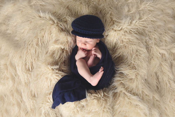 Navy Blue | Irish wool Donegal newsboy hat, flat cap, golf hat | newborn, baby, toddler, boy, & men's sizes