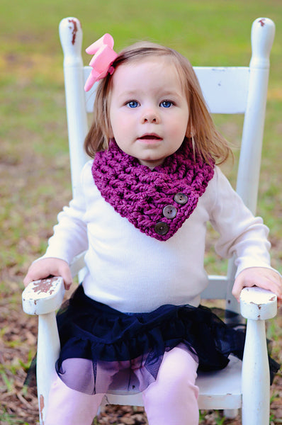 1T to 4T Toddler Purple Plum Button Scarf