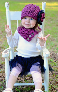 1T to 2T Purple Plum & Charcoal Gray | chunky crochet flower beanie, thick winter hat | baby, toddler, girl's, women's sizes by Two Seaside Babe