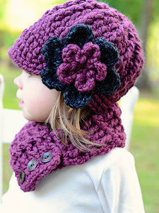 1T to 2T Purple Plum & Charcoal Gray | chunky crochet flower beanie, thick winter hat | baby, toddler, girl's, women's sizes by Two Seaside Babes