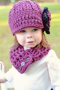 1T to 2T Purple Plum & Charcoal Gray | chunky crochet flower beanie, thick winter hat | baby, toddler, girl's, women's sizes