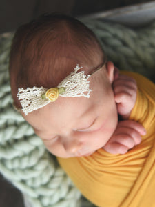 Newborn baby girl tieback - lace bow with yellow flower by Two Seaside Babes