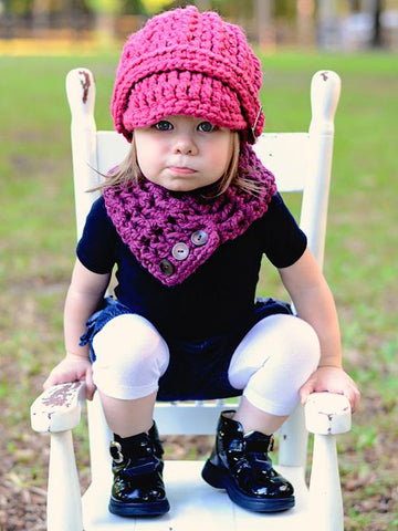 1T to 4T Toddler Purple Plum Button Scarf by Two Seaside Babes