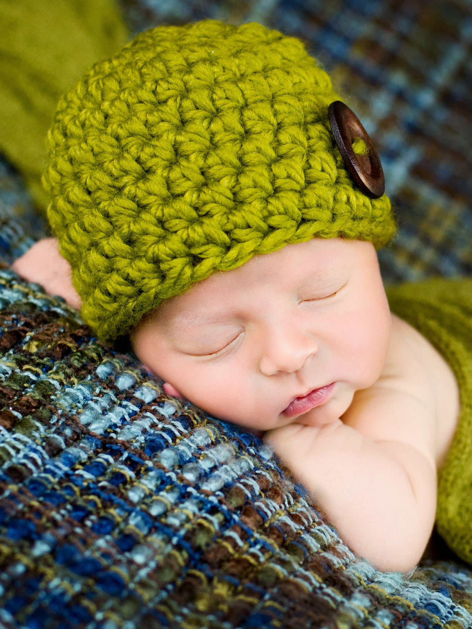 Lemongrass button beanie baby hat by Two Seaside Babes