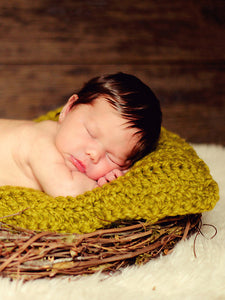 Lemongrass | newborn photo prop layering baby blanket, basket stuffer, bucket filler by Two Seaside Babes
