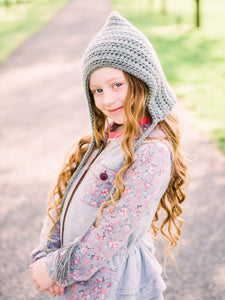 Gray pixie elf hat by Two Seaside Babs