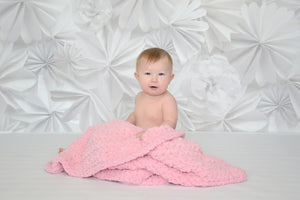 "33"" x 33"" Baby Girl Pink Terry Cloth Baby Blanket"