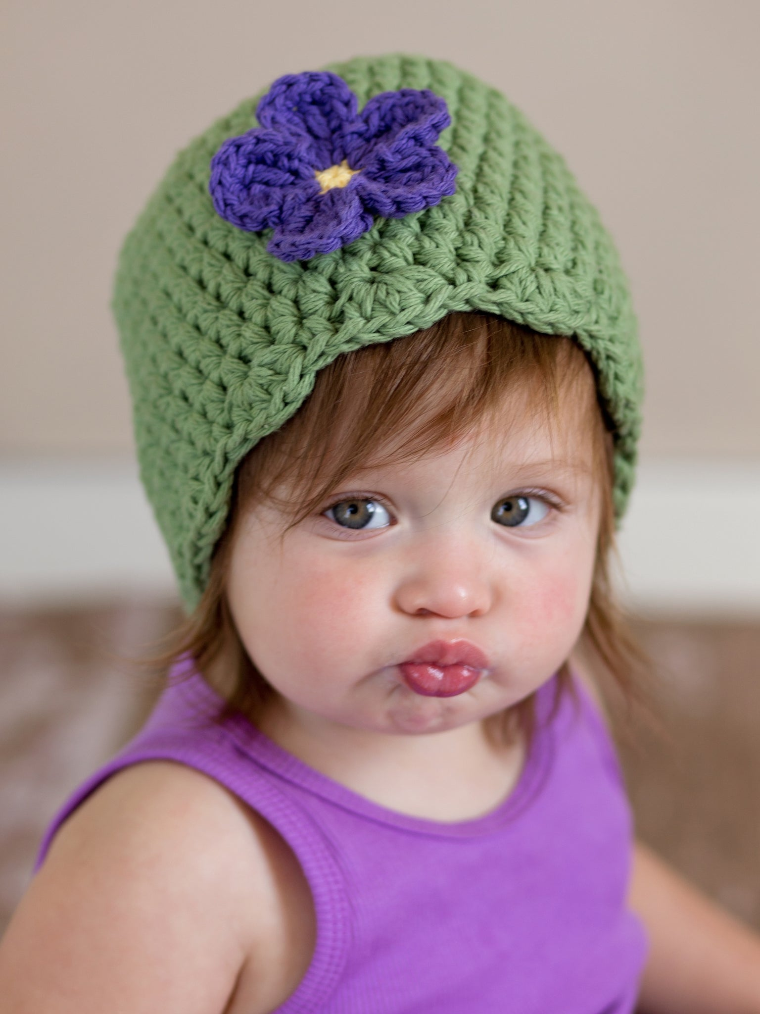 Olive green flapper beanie hat | 34 flower colors available