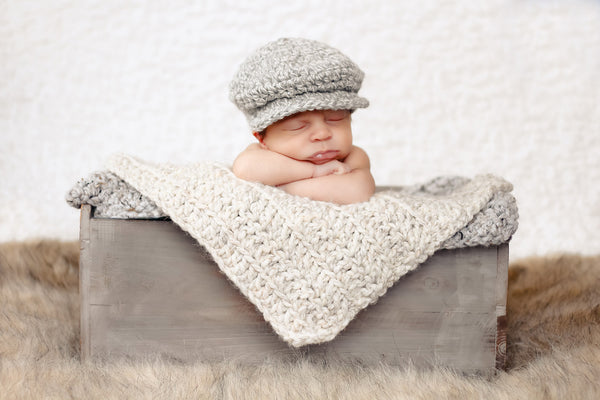 Wheat & Gray Marble | newborn photo prop layering baby blanket, basket stuffer, bucket filler