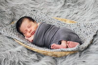 Gray Marble | newborn photo prop layering baby blanket, basket stuffer, bucket filler