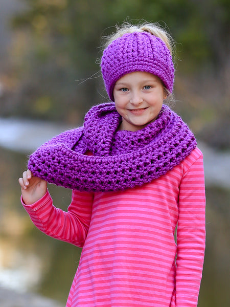 Purple orchid infinity cowl winter scarf by Two Seaside Babes