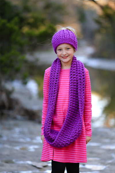 Purple orchid infinity cowl winter scarf