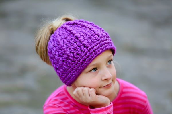 Purple orchid messy bun ponytail beanie winter hat