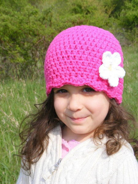 Hot pink flapper beanie hat | 32 flower colors available