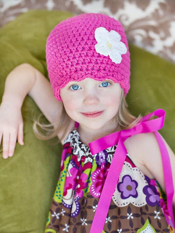 Hot pink flapper beanie hat | 34 flower colors available