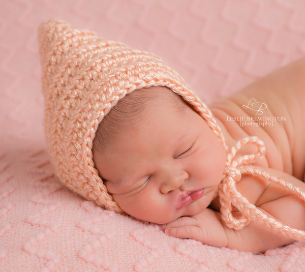 Peach Pixie Elf Baby Hat