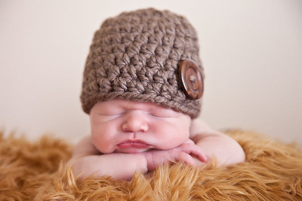 Taupe button beanie baby hat
