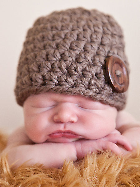 Taupe button beanie baby hat by Two Seaside Babes