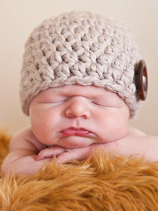 Linen button beanie baby hat by Two Seaside Babes