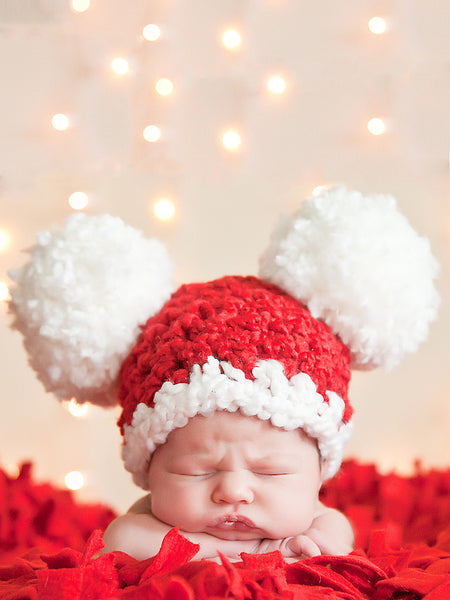 Newborn Baby Santa hat | Christmas hat | Red & White pom pom by Two Seaside Babes