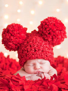 Newborn Red Pom Pom Hat