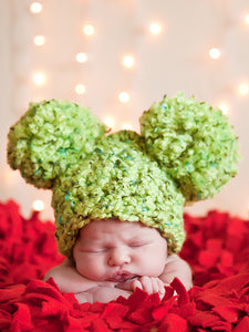 Lime green giant pom pom winter hat by Two Seaside Babes