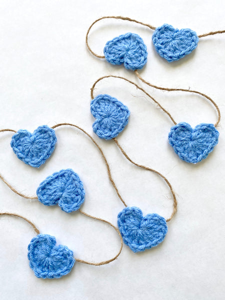 Blue Valentine's Day heart farmhouse garland by Two Seaside Babes