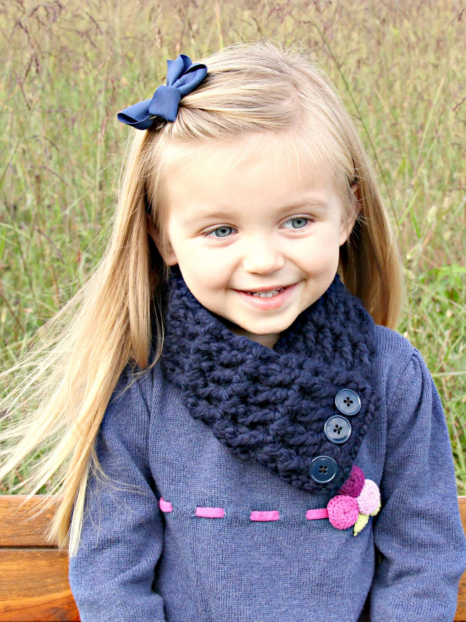 1T to 4T Toddler Navy Blue Button Scarf by Two Seaside Babes