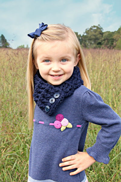 1T to 4T Toddler Navy Blue Button Scarf