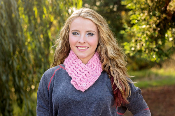 Adult Pink Blossom Button Scarf
