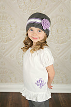 4T to Preteen Elephant Gray, Grape, White, & Lavender Striped Flapper Beanie