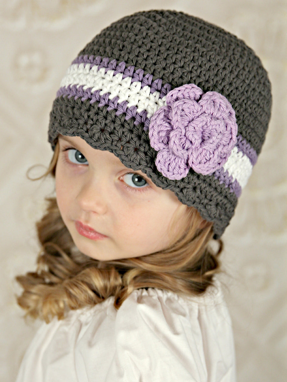 4T to Preteen Elephant Gray, Grape, White, & Lavender Striped Flapper Beanie by Two Seaside Babes