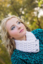 Adult White Sparkle Button Scarf