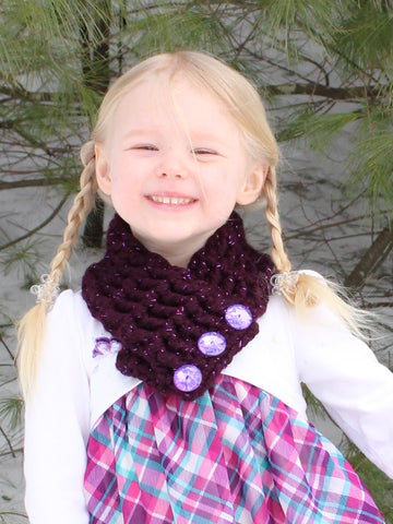 Eggplant sparkle button scarf by Two Seaside Babes