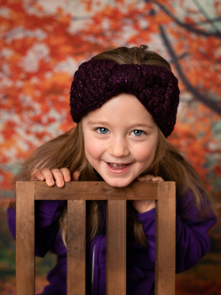 Eggplant sparkle knotted bow winter headband by Two Seaside Babes