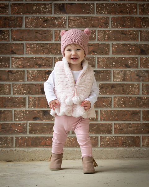 Rose pink mini pom pom hat