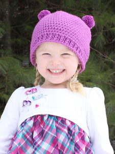 Orchid mini pom pom hat by Two Seaside Babes
