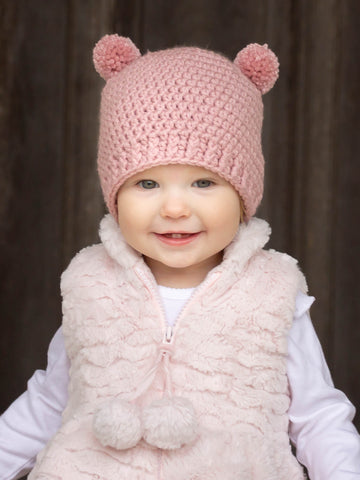 Rose pink mini pom pom hat by Two Seaside Babes