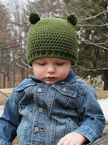 Olive green mini pom pom hat by Two Seaside Babes
