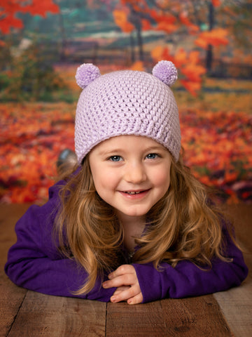 Lavender mini pom pom hat by Two Seaside Babes