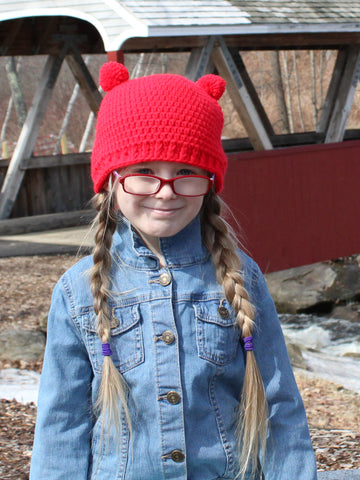 Red mini pom pom hat by Two Seaside Babes