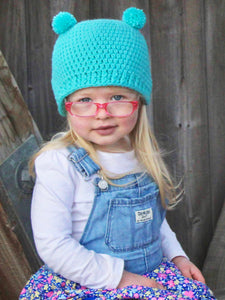Aqua blue mini pom pom hat by Two Seaside Babes