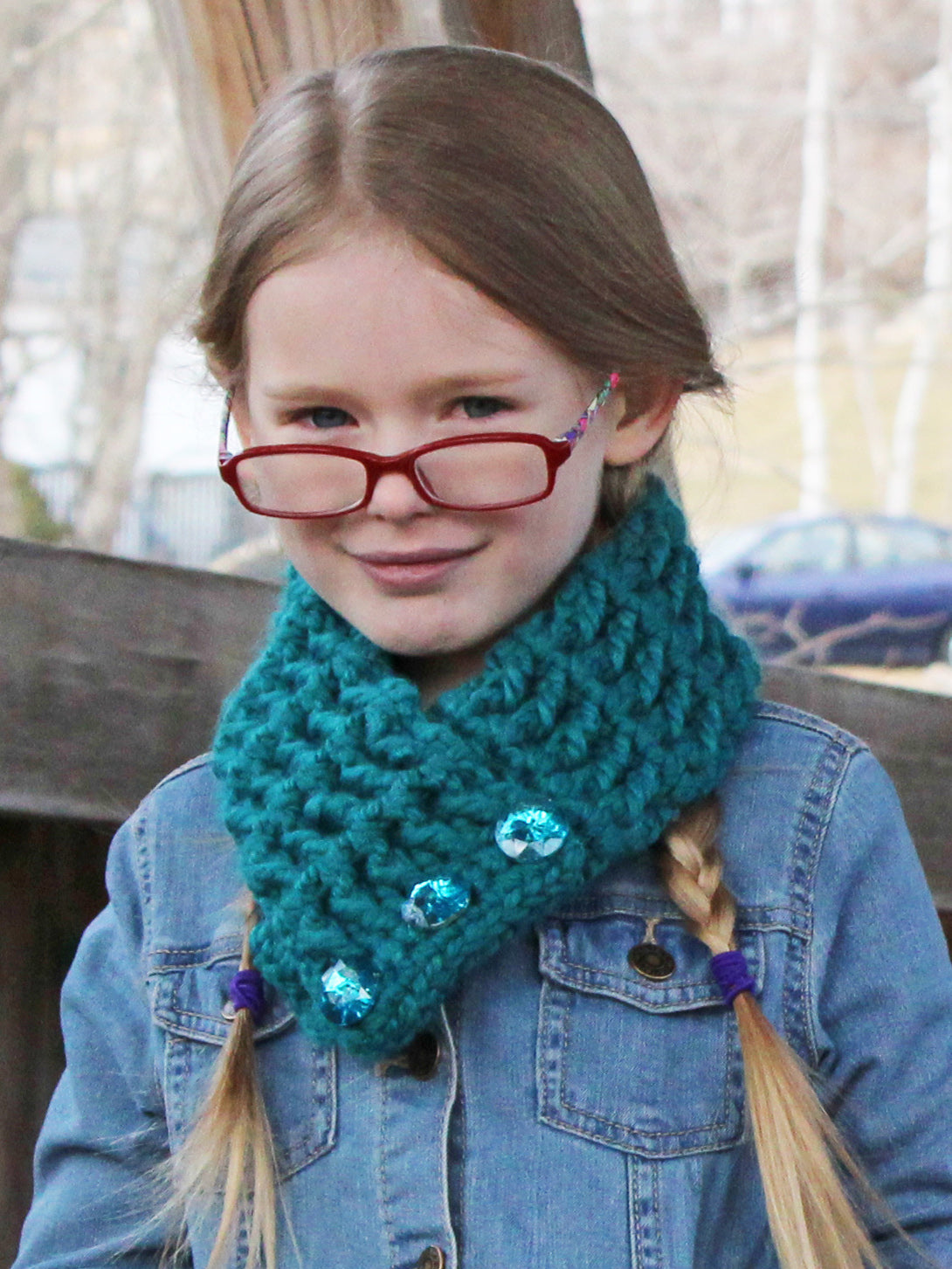 Teal button scarf by Two Seaside Babes