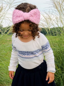 Pink blossom knotted bow winter headband by Two Seaside Babes