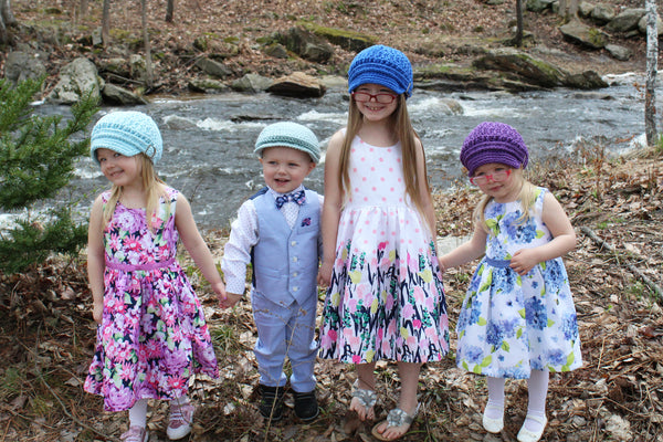 Pale blue, cobalt blue, and dark purple buckle newsboy cap with light blue Irish newsboy hat by Two Seaside Babes