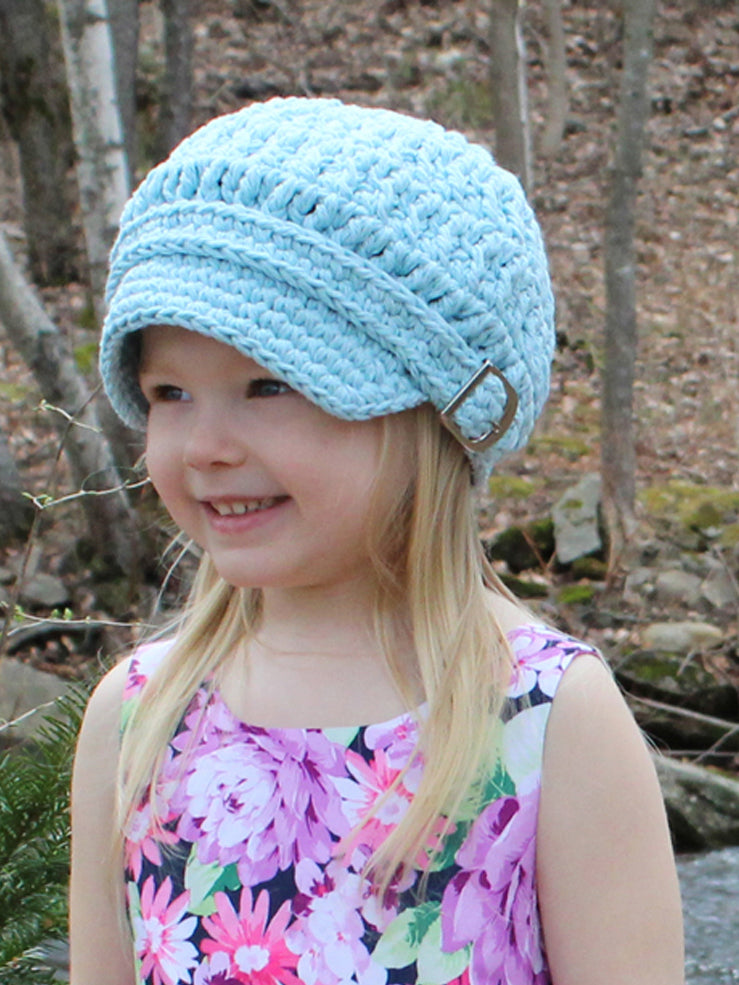 Pale blue buckle newsboy cap by Two Seaside Babes