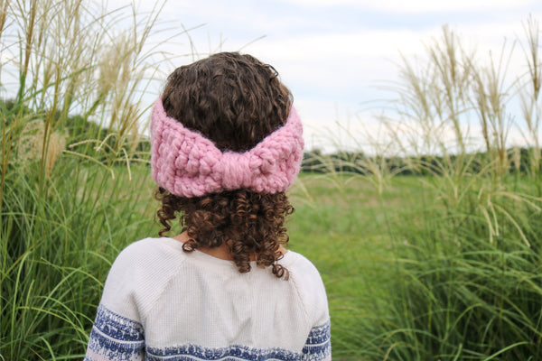 Pink blossom knotted bow winter headband