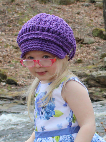 Dark purple buckle newsboy cap by Two Seaside Babes