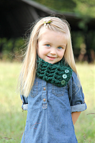 Evergreen pine button scarf by Two Seaside Babes